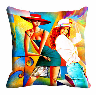 meSleep Abstract Girl Multi Colour Cushion Cover (16x16)