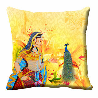 meSleep Multi Colour Rani Cushion Cover (16x16)