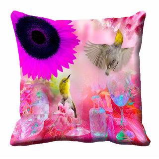 meSleep 3D Pink Colour Nature Cushion Cover (16x16)