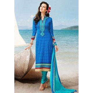 Blue Cotton Straight Suit