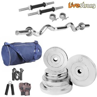 LiveStrong 25 kg Chrome Steel Plates Home gymcombo 1 with Blue gym bag