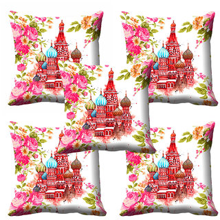 meSleep Pink Floral Temple Cushion Cover (16x16)