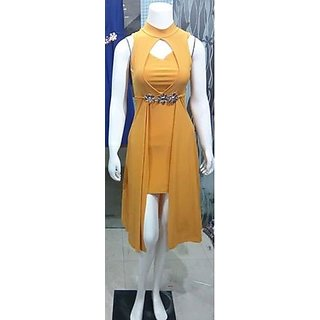 Yellow Colour Western Dresses For Girls