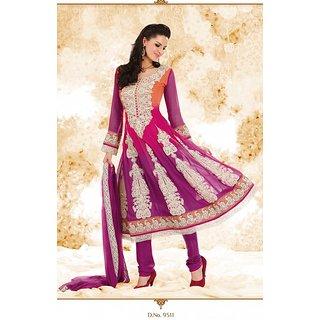 ec304cf2d5 Buy Brijraj Orange,Purple Embroidered Georgette Anarkali Suit Online ...