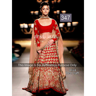 KMOZI Aliya Red Craft Bollywood Lengha Choli
