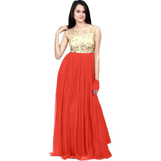 Ethnicbasket Peach Georgette Semi Stitched Gown