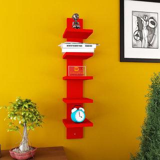DriftingWood 5 Tier Floating Wall Shelf - Red