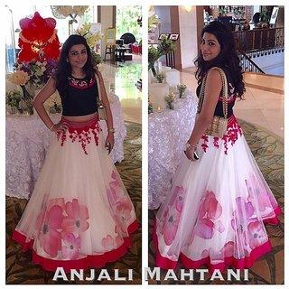 Bollywood White Net Lengha Net Dupatta Silk Blouse