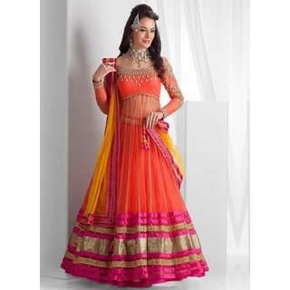 Designer Semi Stitched Orange Net Embroidery Lengha choli