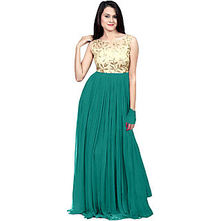 Ethnicbasket Sea Green Georgette Semi Stitched Gown