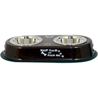 PET CLUB51 HIGH QUALITY  DOG DOUBLE DINNER SET - SMALL- BROWN