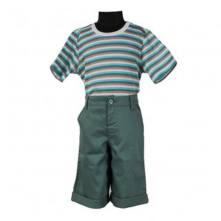 Le Luxe Green Cotton T-shirt And Capri for Boys