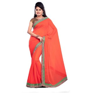 Aaina Red Georgette Embroidered Saree with Blouse (FL-TM-65)