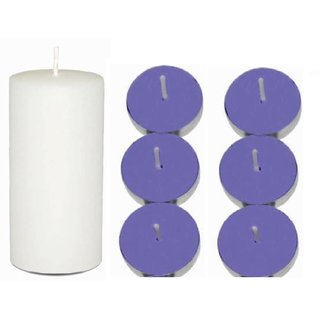 Craffto Pillar 3 x 6 White + 6 Scented Tea Light Candles LAVENDER Festive Decor Candle