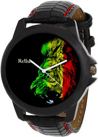 Relish Round Dial Black Leather Strap Men Quartz Watch for Men