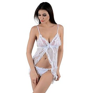RAZA CREATIONS White Lace Solid Sexy Babydoll