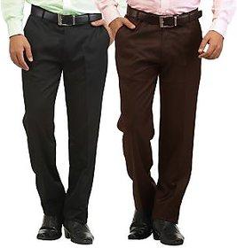 Inspire Pack Of 2 Slim Formal Trousers (Black  Brown)