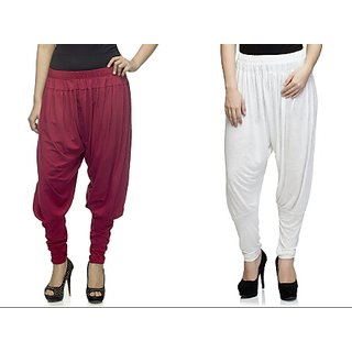 Dee Fashion House Pack of 2 Viscose Lycra Jodhpurs- Maroon and White