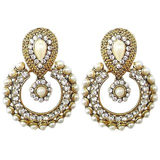 Girls SS Kundan White AD Pearl Ramleela Earrings Wedding Jewellry for Women