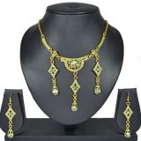 Aakshi Indian Costume Green Tone Jewellery Set With Gold Tone Chain