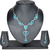 Aakshi Ethnic Sea Blue Jewellery Set With Silver Tone Chain