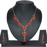 Aakshi Ethnic Red Jewellery Set With Silver Tone Chain