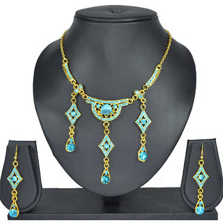 Aakshi Indian Costume Sea Blue Tone Jewellery Set With Gold Tone Chain