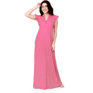 Honeydew Pink Cotton Self Design Nighty