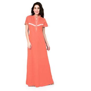 Buy Honeydew Orange Cotton Self Design Nighty Online - Get 0% Off 9d4f3ad2e