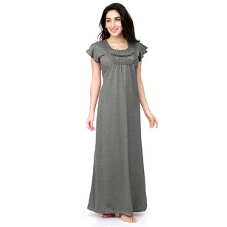 Buy Honeydew Grey Cotton Self Design Nighty Online   ₹705 from ShopClues d6849930f