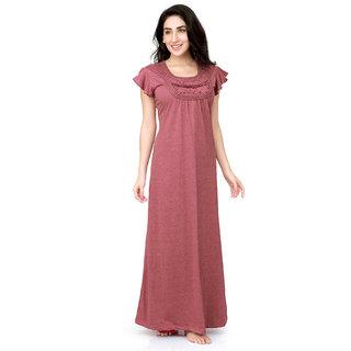Honeydew Pink Cotton Self Design Nighty