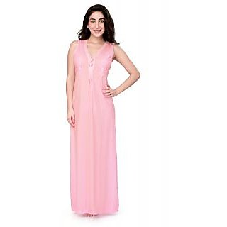 Buy Honeydew Pink Cotton Lace Nighty Online   ₹525 from ShopClues 7c31f881a