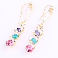 Fashion cute luxurious Real 18K Gold Plated Rhinestone earrings jewellery