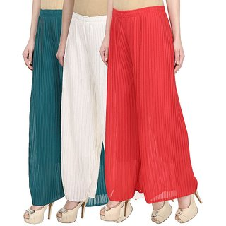 Navgun Green,White,Red Georgette Palazzo (Pack of 3)