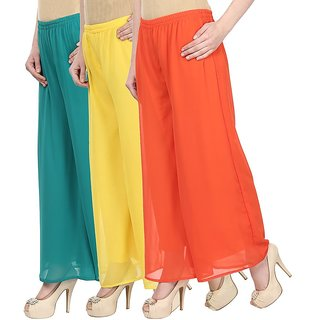 Navgun Green,Yellow,Orange Georgette Palazzo (Pack of 3)