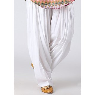 @rk Punjab white color   patiyala Salwar  Ready to wear  100  Cotton and good Quality  - Free Size for ladies