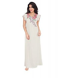 Buy Honeydew Off White Cotton Embroidered Nighty Online   ₹860 from  ShopClues a97515ee3