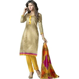 Khushali Presents Chanderi Dress Material (Beige,Yellow)