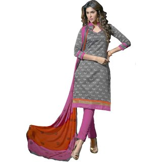 Khushali Presents Chanderi Dress Material (Grey,Pink)
