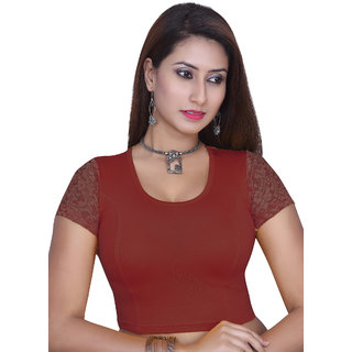 Gargi Ladies  Blouse - 4-way stretch with Net in Short Sleeve And back high Neck-OGBL-610 (RED)