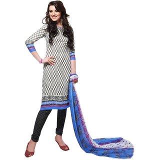 Khushali Presents Printed Crepe Chudidar Unstitched Dress Material(White,Black)