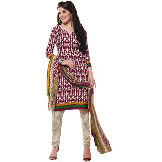 Khushali Presents Printed Crepe Chudidar Unstitched Dress Material(Magento,Light Cream)