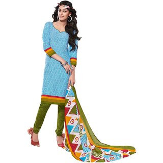 Khushali Presents Printed Crepe Chudidar Unstitched Dress Material(Sky Blue,White,Mehandi Green)