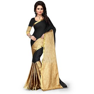Aura Beige & Black Tussar Silk Dobby Saree With Blouse