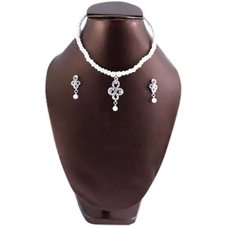 Necklace Pearl with Silver Stone Pendent 168