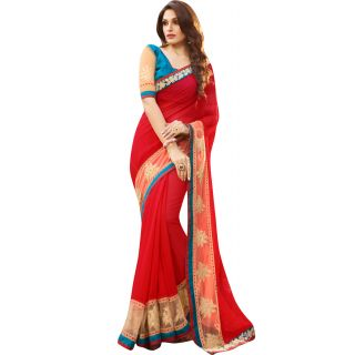 Fabfella Yellow,Red Georgette Embroidered Saree
