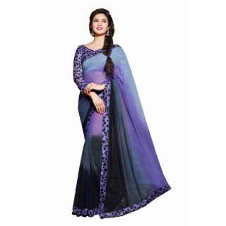 Fabfella Black And Purple Georgette Printed Saree