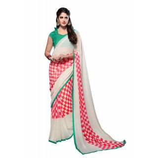 Fabfella Trendy Multicolor Georgette Printed Saree