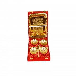 Golden Color Plated Brass Pooja Thali
