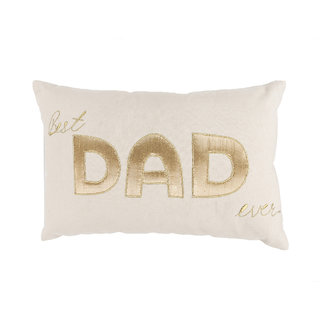 Canvas Cotton Cushion Cover With Golden Applique Beautifully Handcrafted For Dad With Off White Colour